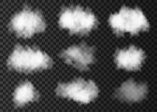 stock image of  set of white smoke cloud on transparent background.