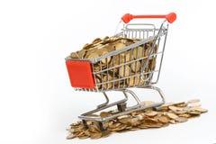 stock image of  shopping cart full of money