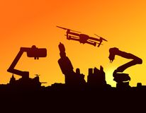 stock image of  silhouette of automation robot arms, industry 4.0 , artificial intelligence