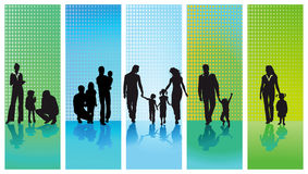 stock image of  silhouetted families