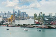 stock image of  singapore cargo terminal,one of the busiest import, export, logistics ports in the world, singapore.