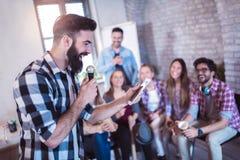 stock image of  singing karaoke.