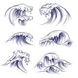 stock image of  sketch wave. ocean sea waves splash. hand drawn surfing storm wind water doodle vector collection