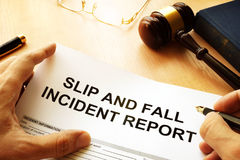 stock image of  slip and fall injury report.