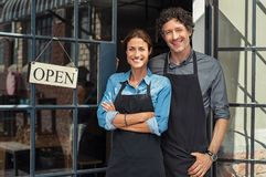 stock image of  small business owners couple