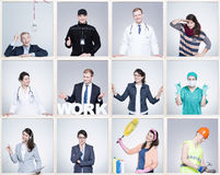 stock image of  small images of young man and woman in different occupation. wearing specific work uniforms