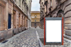 stock image of  small red blank billboard for media business advert on street