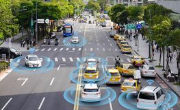 stock image of  smart car, self-driving mode vehicle with radar signal system
