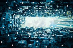 stock image of  smart city and wireless communication network, abstract image visual