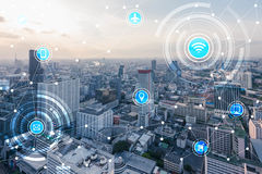 stock image of  smart city and wireless communication network, iotinternet of t