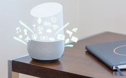 stock image of  smart home assistant device, virtual assistant , artificial intelligence, home control internet of things