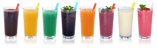 stock image of  smoothie fruit juice smoothies drinks with fruits in a row isola