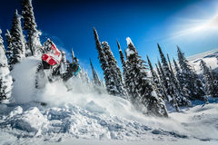 stock image of  snowmobile ride em cowboy!