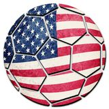 stock image of  soccer ball national usa flag. american football ball.