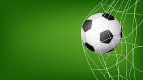 stock image of  soccer ball in net vector. hitting goal. invitation sport poster, banner, brochure design. isolated on green background