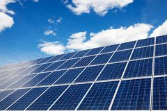 stock image of  solar panels - an alternative source of energy. environmental protection.