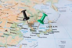 stock image of  south korea and north korea map with pins world hot spot concept