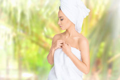 stock image of  spa. relaxed young woman