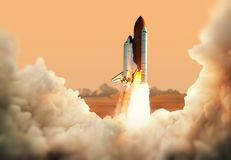 stock image of  spacecraft takes off into space. rocket on the planet mars