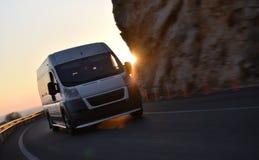 stock image of  speeding delivery van