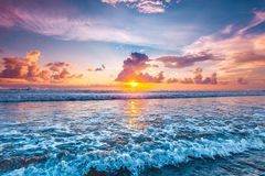 stock image of  sunset over ocean