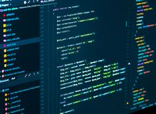 stock image of  splitting of css and php code. computer script code.software programming code developing in the code editor