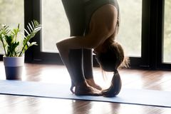 stock image of  sporty yogi woman doing uttanasana pose, close up view