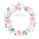 stock image of  spring fresh peony, anemone, camellia, brunia flowers and eucaliptis leaves round vector frame