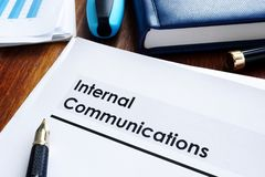 stock image of  stack of internal communications documents