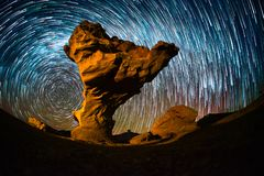 stock image of  starry sky with the star trails