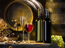 stock image of  the still life with red wine and barrels