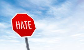 stock image of  stop hate stop sign