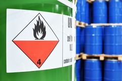 stock image of  storage of barrels in a chemical factory - logistics and shipping