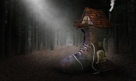 stock image of  storybook fairytale shoe house, home, forest, woods