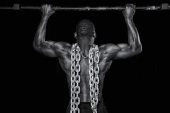 stock image of  strong man does a pull up