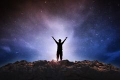 stock image of  success man on space