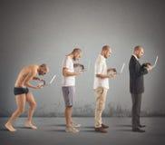 stock image of  successful man evolution