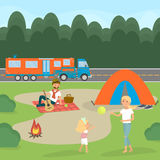 stock image of  summer family picnic. travel by campervan. vector illustration