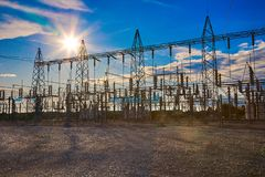 stock image of  electrical substation towers