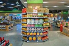 stock image of  supermarket interior