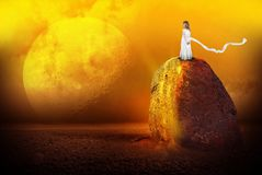 stock image of  surreal alien planet, girl, imagination, science fiction