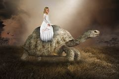 stock image of  surreal girl, turtle, tortoise, nature, peace, love