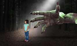 stock image of  surreal halloween, girl, childhood, nightmare, terror, horror