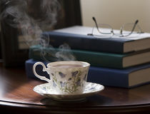 stock image of  tea and books
