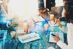 stock image of  team of businessmen work together in office with network effect. concept of teamwork and partnership