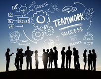 stock image of  teamwork team together collaboration business communication outdoors concept