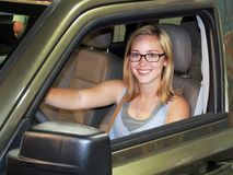 stock image of  young women teen driver