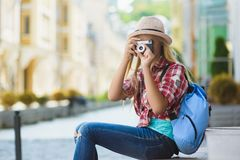 stock image of  teenage girl travel in europe. tourism and vacation concept