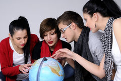 stock image of  teens choosing destinations