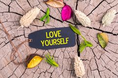 stock image of  the text love yourself in tag
